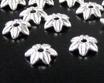 REDUCED Silver Bead Cap 100 Shiny Silver Flower Victorian 6 point 10mm NF (1124cap10s1)xz
