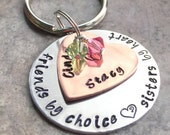 CindysArts hand stamped BFF keychain, sisters or brothers forever