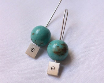 Turquoise Magnesite Square silver earrings, flattering and long sterling silver earrings, small,simple and traditional jewelry