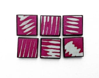 Striped Pink Batik Square Magnets, Handmade Paper, Abstract Refrigerator Art Hostess Gift Locker Magnets