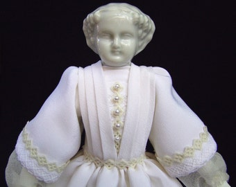 the Lady in White, one of a kind art doll in white silk and antique porcelain