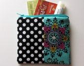 Small Zipper Bag, Bright Aqua, Fushia and Black Coin Purse, Credit Card Bag, Gift Card Holder