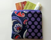 Small Zipper Bag, Purple and Navy Paisley and Dots Coin Purse, Credit Card Bag, Gift Card Holder