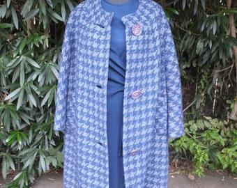 Fabulous 1950s/60s Blue Full Length Coat by di Vinci california / Medium/Large