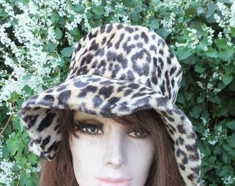 Vintage Faux Fur Leopard Hat, Leopard Cloche Style Faux Fur Hat, 70s, Boho, Funky