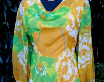 1970s Floral Chiffon with Drape Neckline and Sheer Sleeves