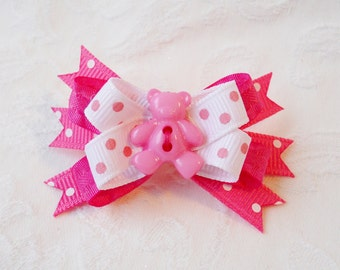 Dog Bow- Swiss Pink Teddy Boutique Dog Bow