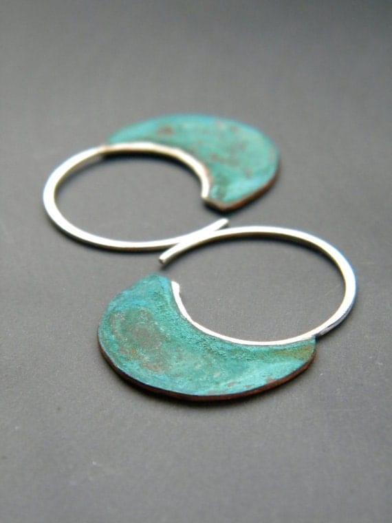 Little Urban Hoops, Verdigris - handmade copper sterling silver earrings, patina, blue green, made in Italy