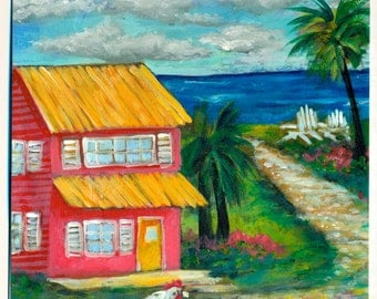 Key West House Shabby Chic Tropical Path to the Beach Original Fine Art Painting FREE SHIPPING keROBinson