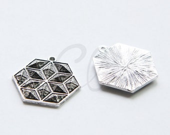 4 Pieces Oxidized Silver Plated Base Metal Pendant - Hexagon 30x29mm (1448C-S-298)