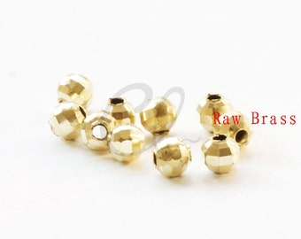 40pcs Raw Brass Faceted Ball Spacer - 6mm (1980C-F-530)