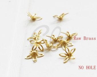 60pcs Raw Brass Bead Cap with NO HOLE - Flower Cap 9mm (2010C-U-323)