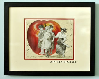 GLASS FRAMED ARTWORK. Apple of His Eye with Spencerian Calligraphy background. 100 Percent Recycled Art.