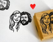 Portrait stamps invitations rustic wedding gift / bachelorette custom couple face / self inking / wood block / save the date personalized
