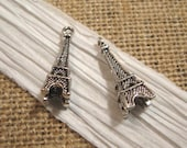Pewter Antique Silver Eiffel Tower Charms - 2 Count