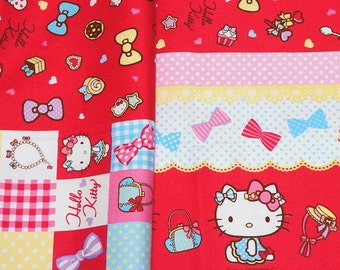 "Hello Kitty Fabric Kitty and Heart 50cm x 106  cm or 19.6"" by 42 "" Half meter"