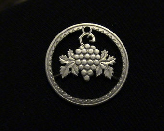 CYPRUS - cut coin jewelry - Grapes - 1963 - BRAND NEW