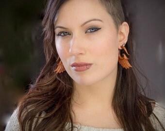 Fake gauge Earrings, redblood Wood, Organic,  Tribal Expander ,Split  earrings,tribal,hand made,organic,natural M