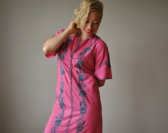 1950s Raspberry Embroidered Dress~Size Extra Small
