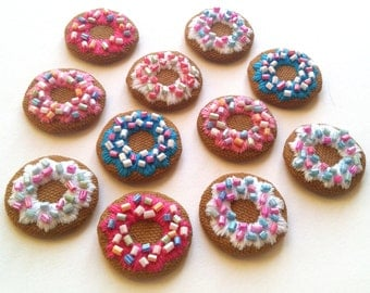 Hand Embroidered Doughnut Necklace