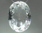 Clear or white Quartz fully faceted oval gemstone bead, 34.51 carats                  066-009-003