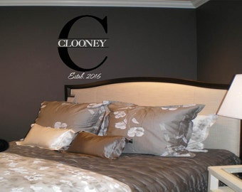 Classic Style Family Name and Monogram Wall Decal