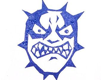 Wrestler Rubber Stamp - Hand Carved