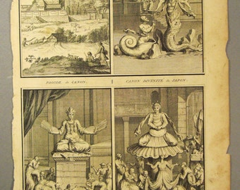 ANTIQUE 1700s JAPAN Temple Deities   Original steel Engraving 1724 14 1/4 x 9 3/4 in Ready to frame