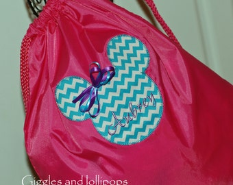 Girls personalized Disney Mickey minnie Mouse backpack cinch sak purple chevron disney at easter
