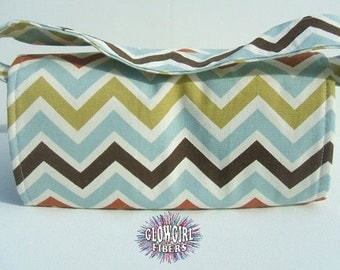 Mega Large Coupon Organizer Holder Chevron Heavy Duck Cotton Fabric