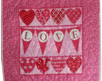 Love Banner Valentine Quilted Wall Hanging or Table Topper