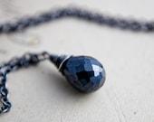 Night Necklace Black Mystic Spinel Midnight Modern Pendant