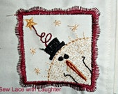 Christmas Snowman Embroidery Bread Cloth Basket Liner