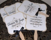 Wedding Fans with Monogram and Program, Double Sided fans,100  DELUXE FANS