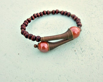 Wood Beaded Adjustable Memory Wire Cuff Bangle Bracelet with Ceramic and Brass Accents: Mauve It