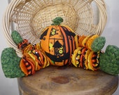 Yo Yo Halloween Pumpkin fabric quilt  decor