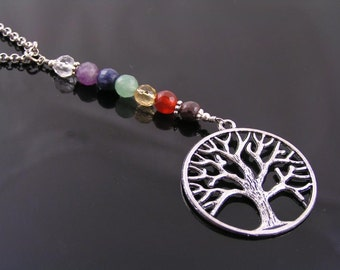 Tree of Life Necklace, Faceted Chakra Gemstones, Y Necklace, Chakra Jewelry, Chakra Necklace, Tree Necklace, Inspirational Necklace, N1476