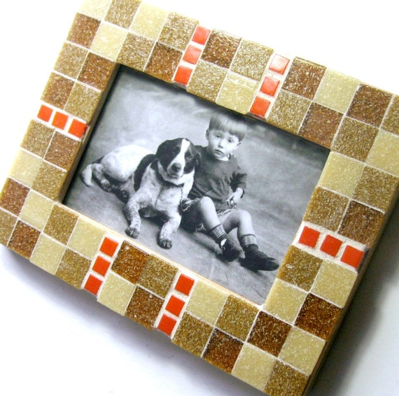 Mosaic Frame, Caramel Orange Frame, 4x6 Glass Tile Frame, Handmade Picture Frame, Tan Brown Orange Mosaic Tile Frame, Orange Bronze Frame