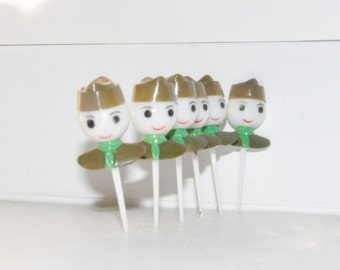 6- Plastic -Vintage Boy Scouts - Cupcake Toppers, Diorama Art, or Snow Globes