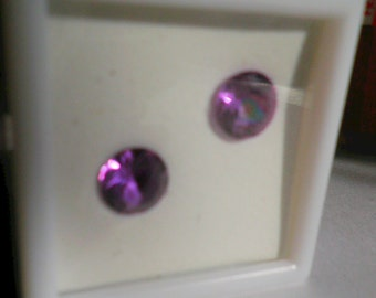 Loose Gemstones,Color Change Zandrite Pair,Lab Created,Purple to Blue, 8mm Round