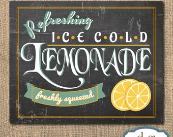Lemonade Chalkboard Sign - Printable Artwork, 8x10 - Instant Download