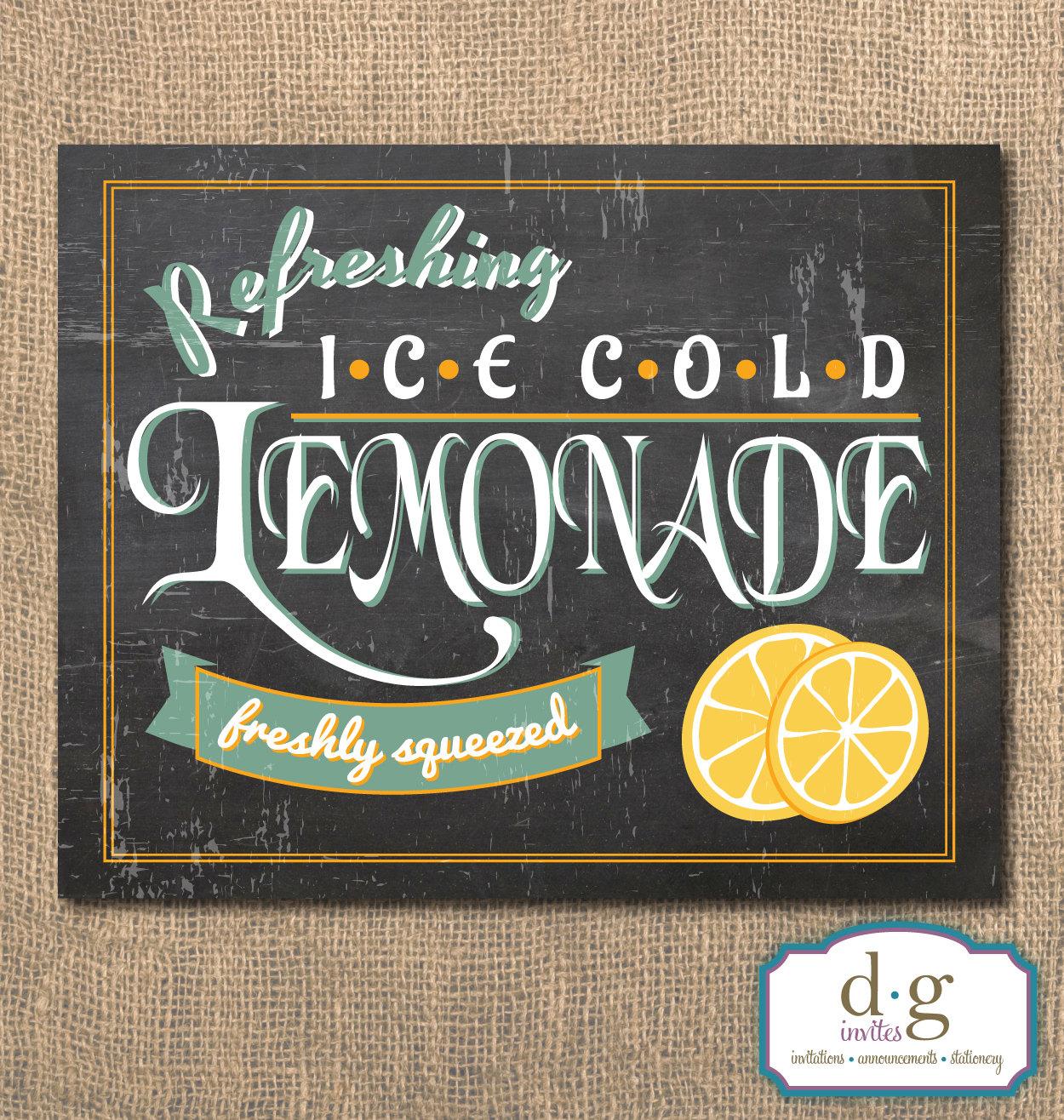 Lemonade Chalkboard Sign Printable Artwork 8x10 InstantLemonade Sign