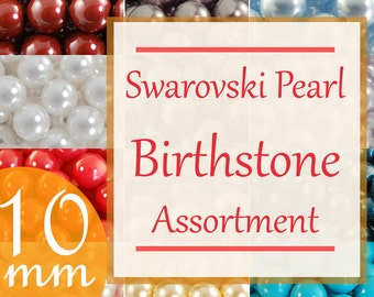 Birthstone kits Swarovski pearl birthstone assortment 10mm faux pearls Style 5810 (120)