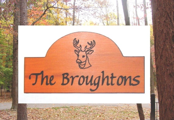 Family Name Sign - Deer Family Graphic - Custom Carved Redwood