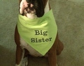 Big SISTER Dog Bandana Sizes XS to XL Choice of Fabric in Tie Style