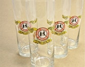 WHEAT BEER glass Brauerei Pinkus Muller Munster Weizen Wheat Beer Glasses 4 West Germany Beer Glass . Gift For Him . Homebrew . Beer Lover