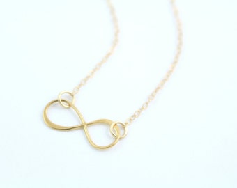 Delicate Gold Infinity Necklace - Minimal Simple Necklace - Centered or Side Infinity Necklace 14K Gold Fill Chain