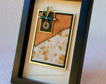 Original Collage Art Card, framed ACEO, Asian Simplicity, mixed media collage