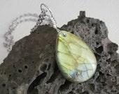 Gold Labradorite Pendant, Natural Stone Jewelry, Teardrop Rock Necklace