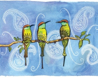 The Bee-eaters: Watercolor and Ink Archival Print- Bird Illustration- Giclee Print- by Rachel Devenish Ford
